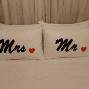 Mr &Mrs with red love heart